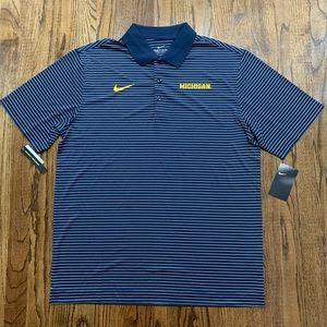 Nike Michigan Wolverines Blue Striped Golf Polo